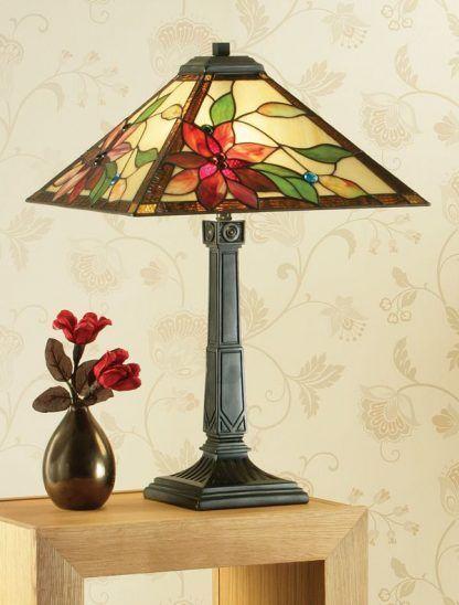elegancka klasyczna lampa stołowa witrażowy klosz