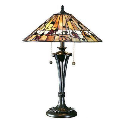 elegancka klasyczna witrażowa lampa stołowa