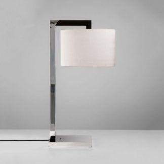 elegancka lampa stołowa chrom z białym abażurem