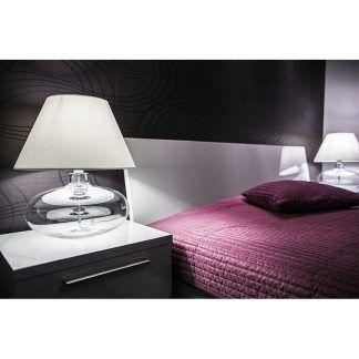 elegancka lampa stołowa ze szkła z abażurem do sypialni