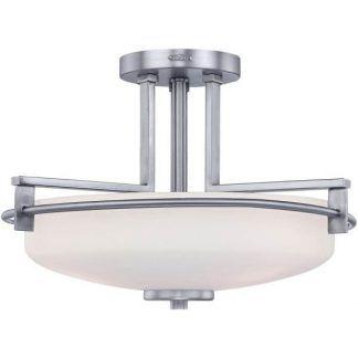 elegancka lampa sufitowa srebrna, szklany klosz