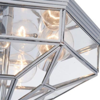 elegancka lampa sufitowa szklana w srebrnej ramie