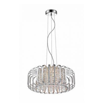 elegancka lampa wisząca do salonu nad stół - srebrna