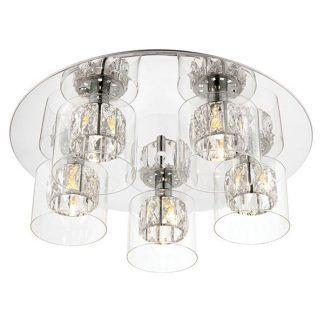 elegancka nowoczesna lampa sufitowa z 5 kloszami - salon
