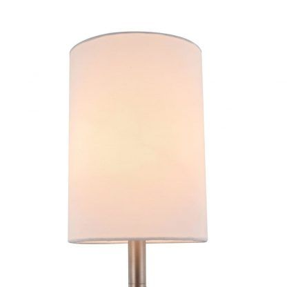 elegancka srebrna lampa stołowa z abażurem