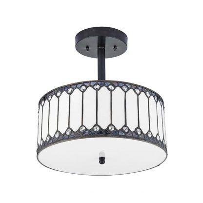 elegancka stonowana lampa sufitowa szkło witrażowe