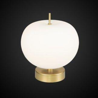Elegancka złota lampa z mlecznym kloszem