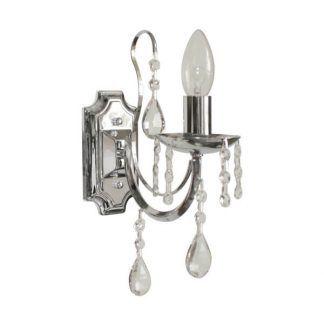 elegancki i ekskluzywny srebrny kinkiet do salonu z kryształami