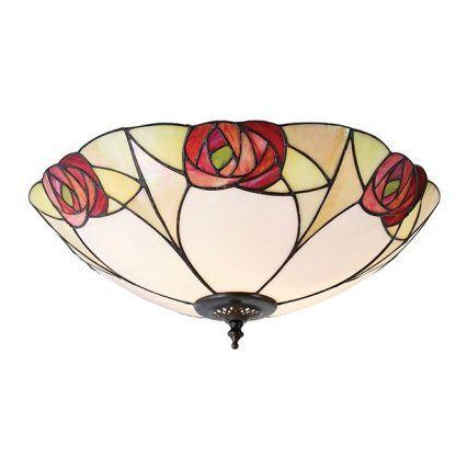 elegancki plafon w róże szkło witrażowe tiffany