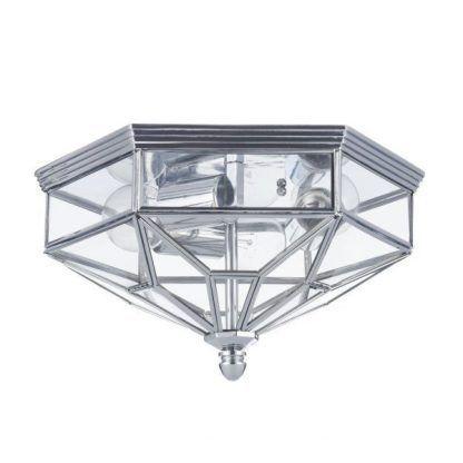elegancki plafon w srebrnej oprawie szklany