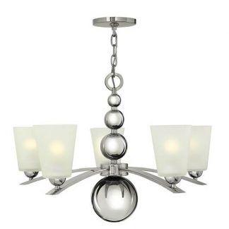 elegancki srebrny żyrandol ze szklanymi kielichami