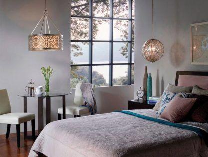 eleganckie lampy wiszace do sypialni - kula i klosz
