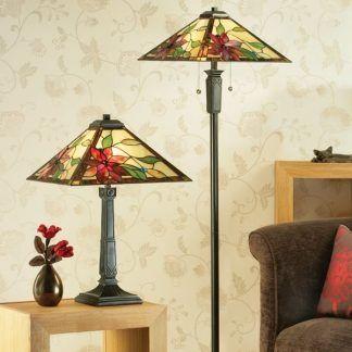 eleganckie lampy witrażowe do salonu zestaw