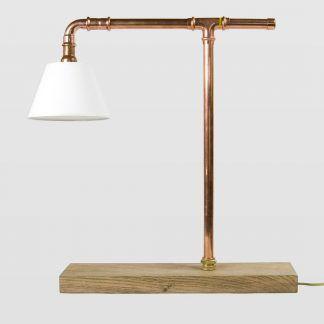 fajna ekologiczna i naturalna lampa stołowa z miedzi