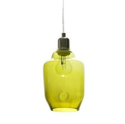 fajna oliwkowa lampa wiszaca ze szkła na 1 żarówkę