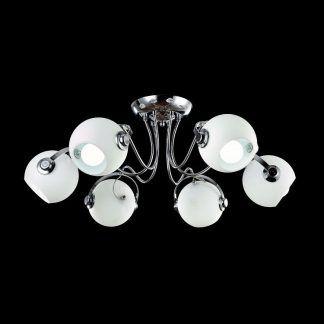 futurystyczny żyrandol szklane kule srebrny