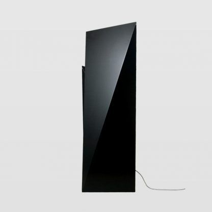 geometryczna blaszana lampa stojąca do salonu - czarna