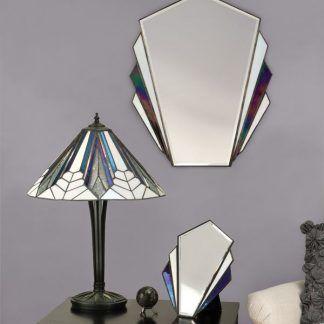 geometryczna lampa stołowa witrażowa