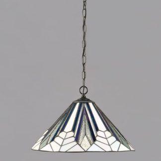 geometryczna lampa wisząca biel zieleń fiolet