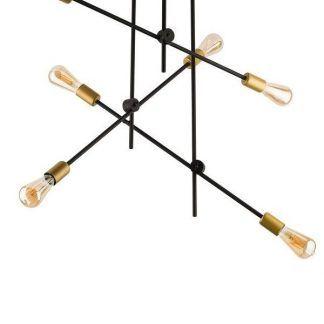 geometryczna lampa wisząca czerń i złoto