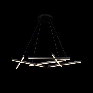 geometryczna lampa wisząca panele led czarna