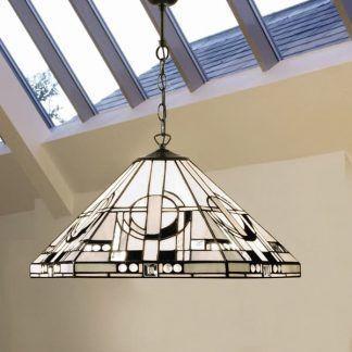 geometryczna lampa wisząca witrażowe szkło