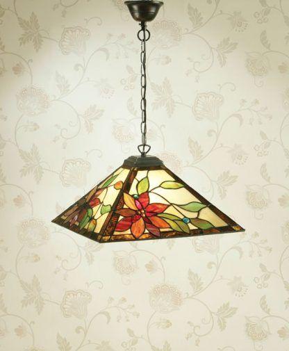 geometryczna lampa wisząca witrażowe szkło kwiaty