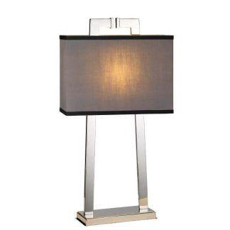 Geometryczna lampa z szarym abażurem do sypialni