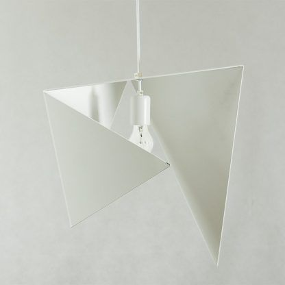 geometryczna nowoczesna lampa wisząca biała - wygięta blacha