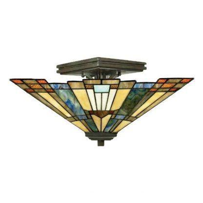 Geometryczna witrażowa lampa do salonu