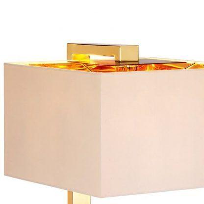 Geometryczny jasny abażur na złotej podstawie