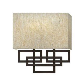 Geometryczny kinkiet z beżowym abażurem