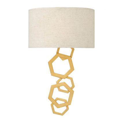 Geometryczny złoty kinkiet z beżowym abażurem sypialnia