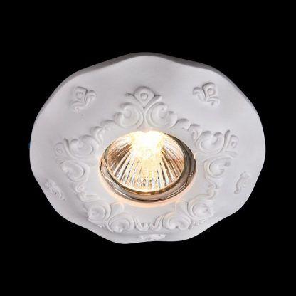 gipsowe oczko zdobione wzorami - lampa led