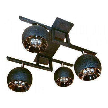 grafitowa lampa sufitowa z czterema źródłami światła
