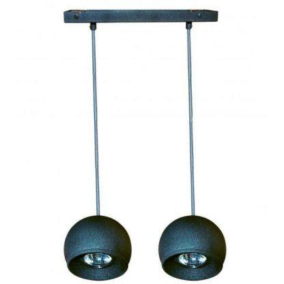 grafitowa lampa wisząca na szynie nad stół do kuchni