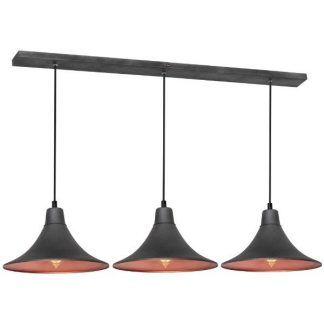 Grafitowa lampa wisząca z trzema kloszami salon
