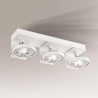 nowoczesna lampa sufitowa z białymi reflektorkami