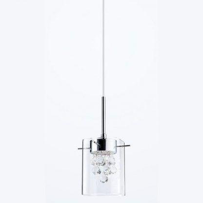 szklana lampa wisząca z kryształkami w środku