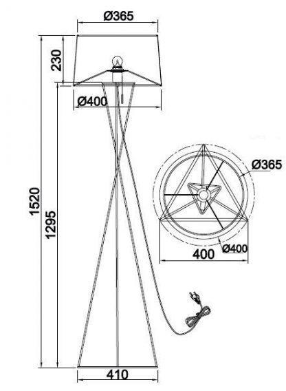 wymiary lampa 7613