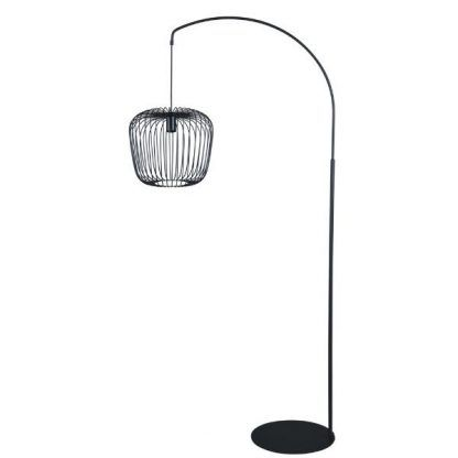 czarna lampa podłogowa z drucianym kloszem