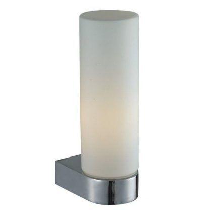 srebrny kinkiet łazienkowy z mlecznym kloszem