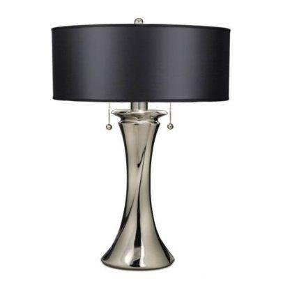 srebrna lampa stołowa z czarnym abażurem