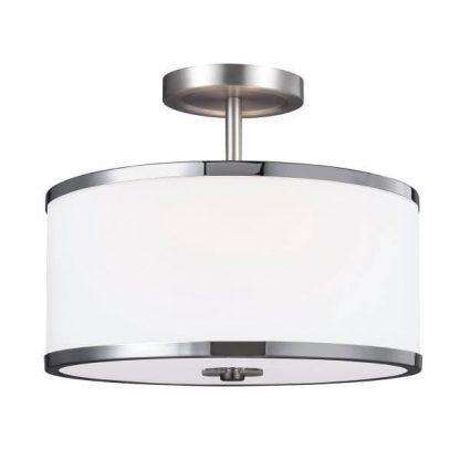 srebrna lampa sufitowa z białym abażurem
