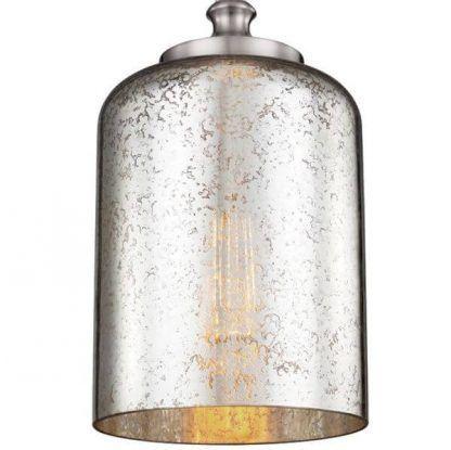 lampa wisząca ze szklanym srebrnym kloszem