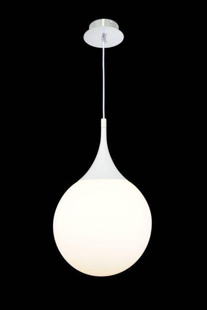 biała lampa wisząca do nowoczesnego salonu