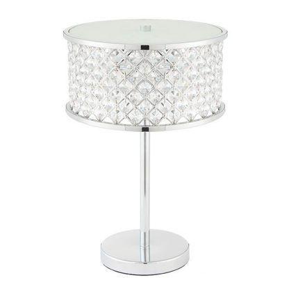 hudson kryształowa lampa stołowa chrom