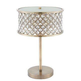 hudson lampa stołowa mosiężna z kryształkami