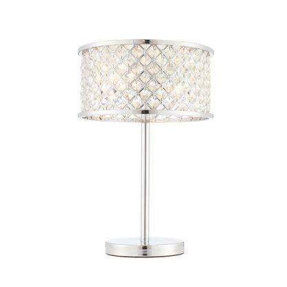 hudson lampa stołowa srebrna z kryształkami