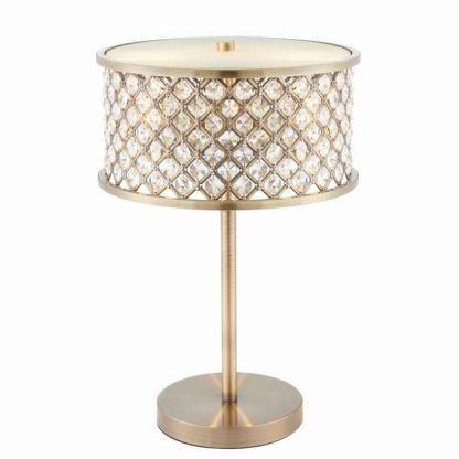 hudson metalowa lampa stołowa z kryształkami